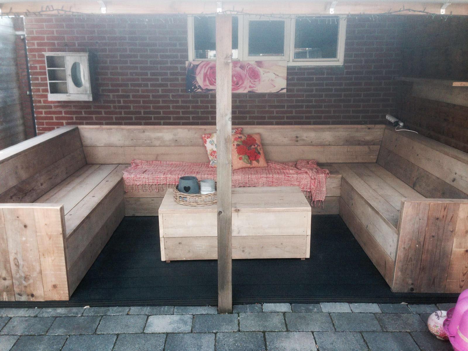 U vorm steigerhouten tuinbank